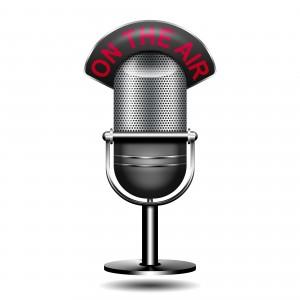 Icono microfono 3D con texto on the air